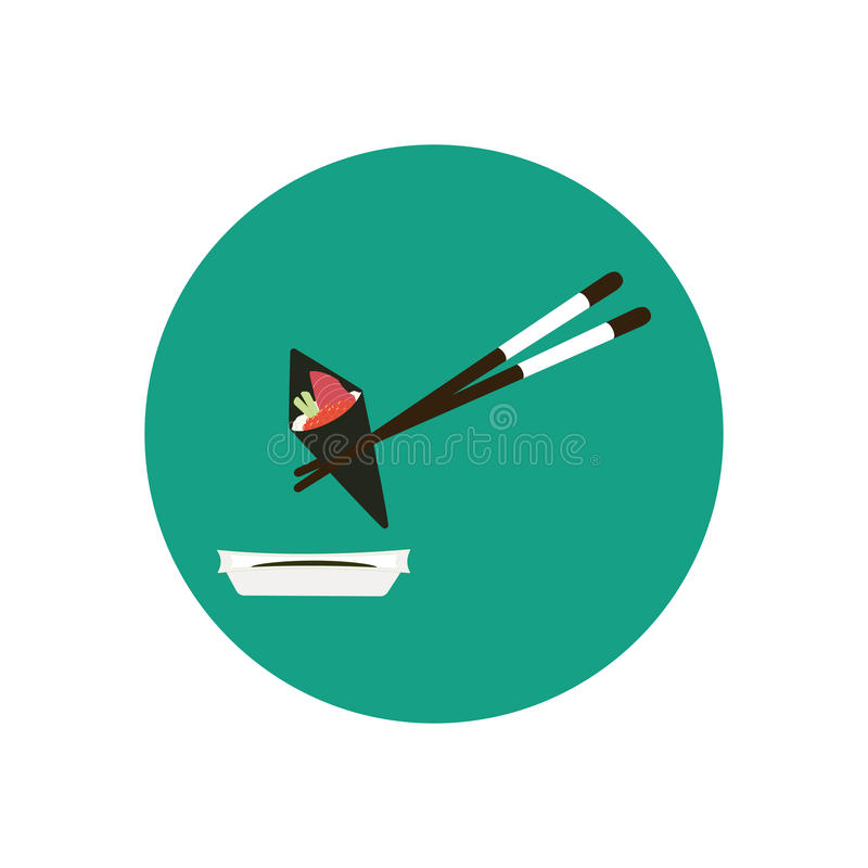 Chopsticks holding cone sushi roll with salmon and caviar. Vector illustration stock illustration