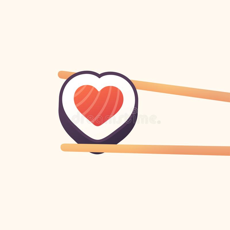 Heart sushi roll royalty free illustration
