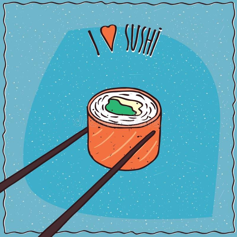 Chopsticks holding sushi roll Maki vector illustration