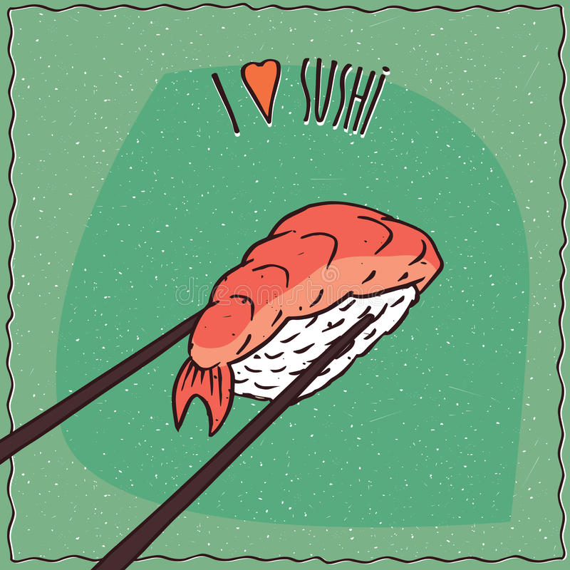 Chopsticks holding sushi roll Nigiri royalty free illustration