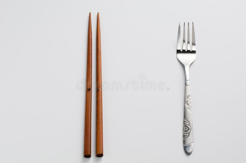 Chopsticks i rozwidlenie zdjęcia royalty free