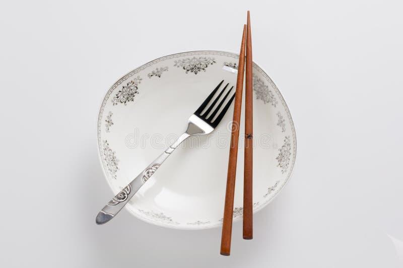 Chopsticks i rozwidlenie zdjęcie royalty free