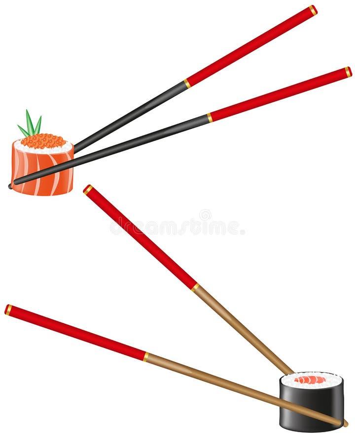 chopsticks ilustracyjny suszi wektor ilustracja wektor