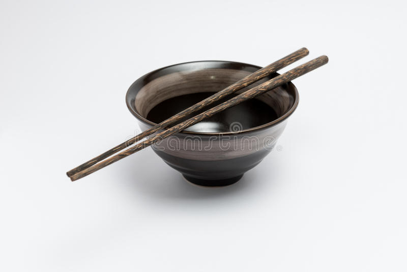 Chopsticks and japanese style bowl royalty free stock images