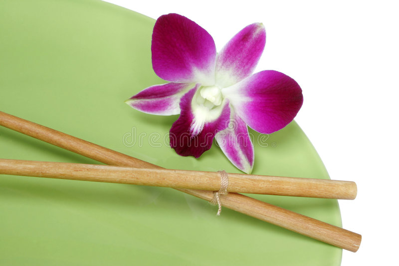 Download Chopsticks orchid πιάτο στοκ εικόνα. εικόνα από εθνικός - 525321