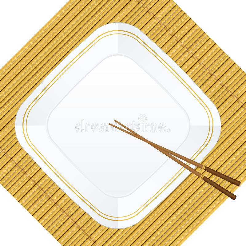 Chopsticks and plate on bamboo cover vector illustration