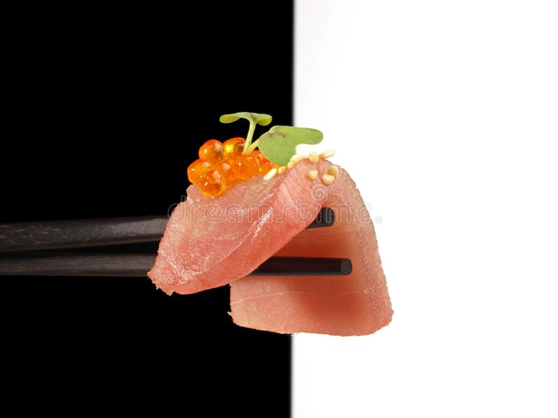 Chopsticks with Tuna Fish Fillet stock photography