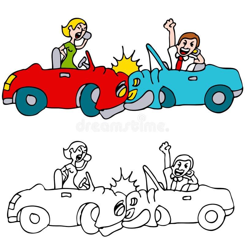 Choque de carro dos povos ao usar telefones de pilha ilustração do vetor