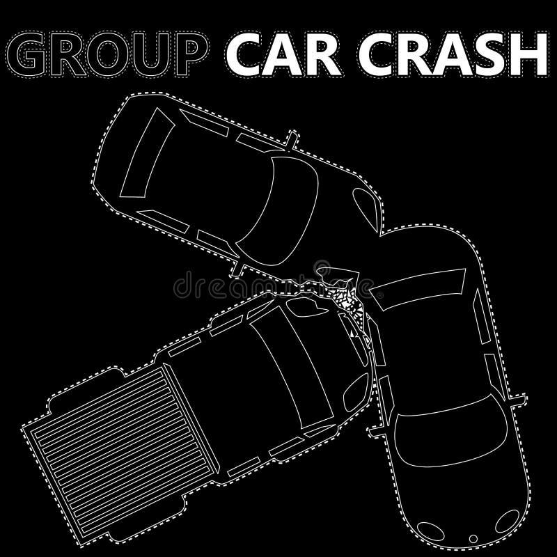 Choque de coche blanco del grupo de las rayas ilustración del vector