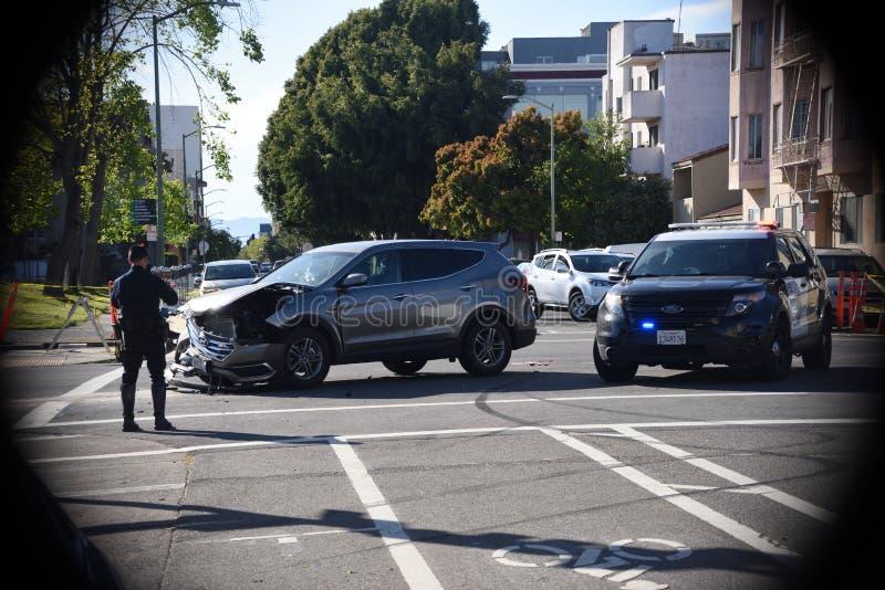 Choque de coche en Oakland California fotografía de archivo libre de regalías