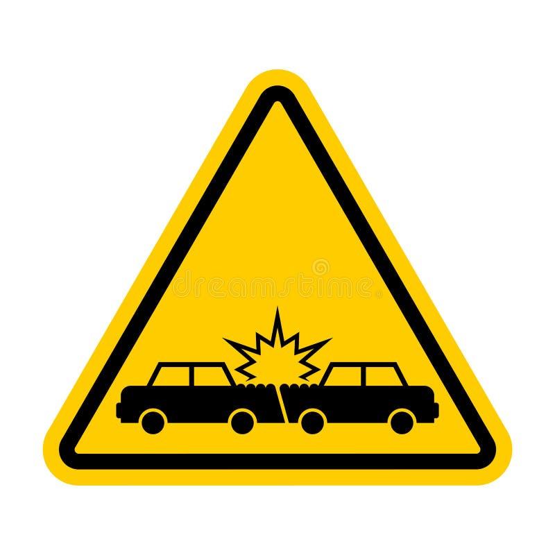Choque de coche de la atención Coches del accidente de la precaución Ruina del transporte stock de ilustración