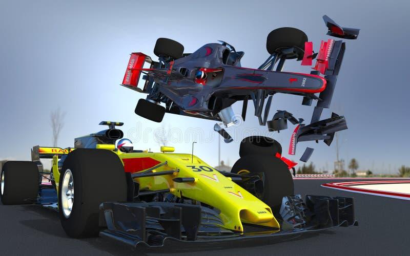 Choque de coche de los deportes F1 foto de archivo