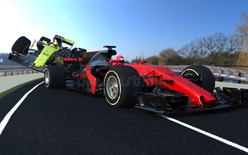 Choque de coche de los deportes F1 imagen de archivo libre de regalías