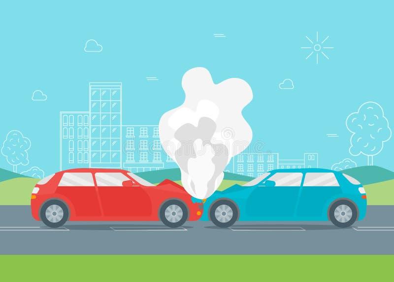 Choque de coche o accidente de la historieta Vector ilustración del vector