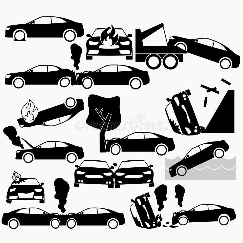 Choque de coche y accidentes en silueta stock de ilustración