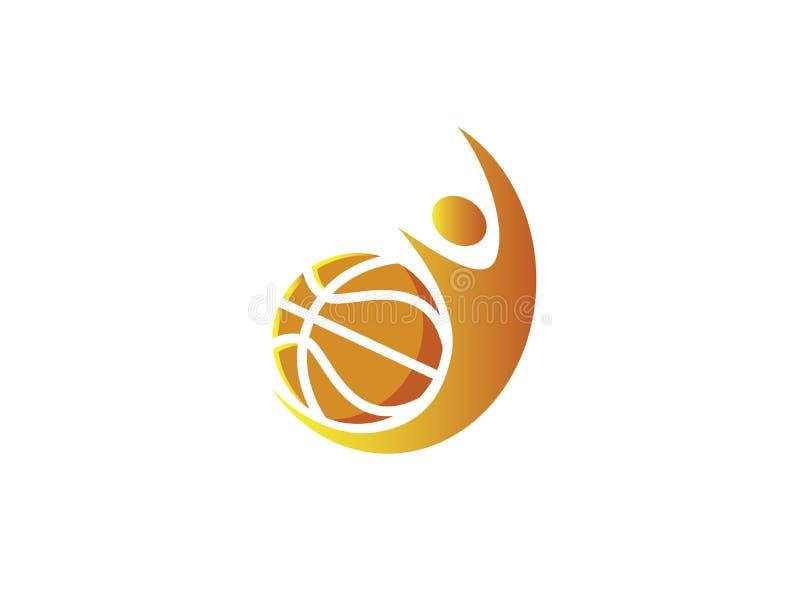 Choque del jugador de básquet y bola de servicio para el diseño del logotipo ilustración del vector