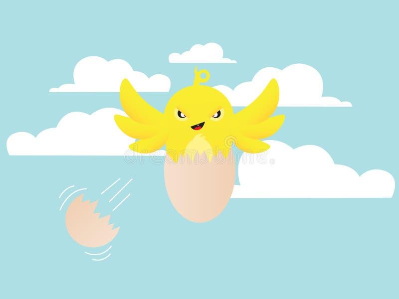 Choque do pássaro de bebê ilustração do vetor