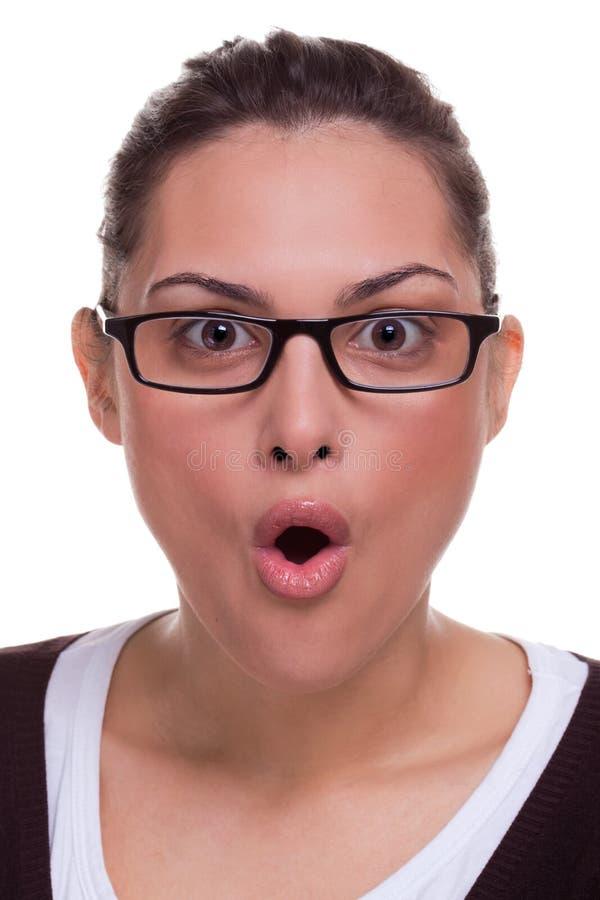 Choque fêmea da expressão facial foto de stock