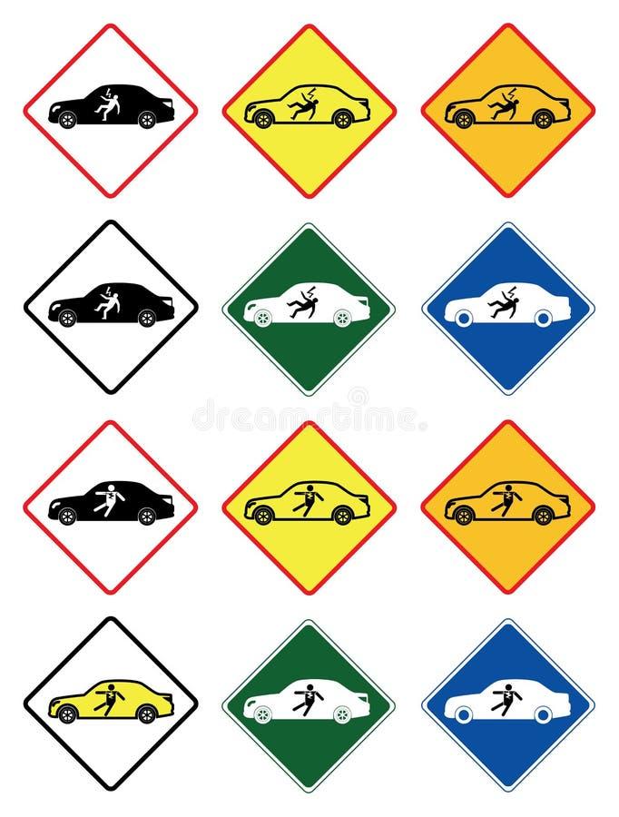 Choque o aviso na forma luxuosa do carro bonde, vetor de sinais de tráfego fotos de stock royalty free