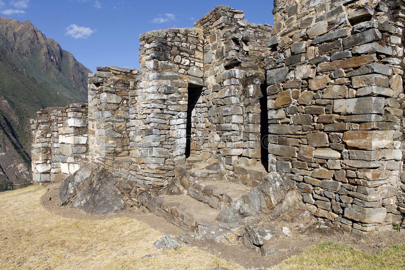 Choquequirao废墟在秘鲁。 库存照片