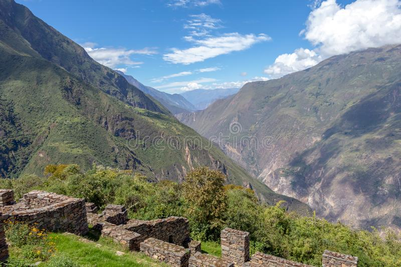 Choquequirao complex of ruins built by the Incas, one of the most remote Inca settlements in the Andes, Peru. Choquequirao archaeological complex site, an Incan stock photos