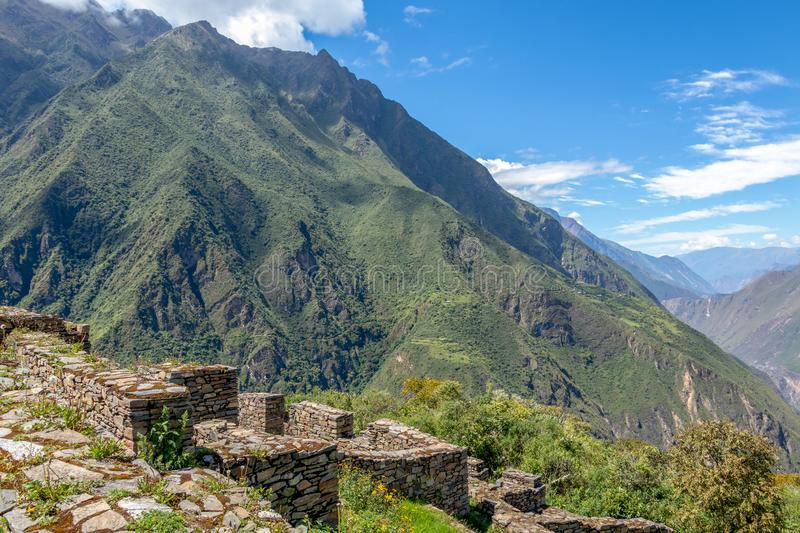 Choquequirao complex of ruins built by the Incas, one of the most remote Inca settlements in the Andes, Peru. Choquequirao archaeological complex site, an Incan stock image