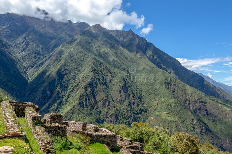 Choquequirao complex of ruins built by the Incas, one of the most remote Inca settlements in the Andes, Peru. Choquequirao archaeological complex site, an Incan royalty free stock photo