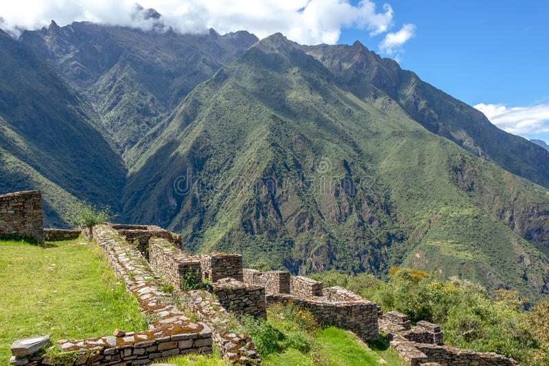 Choquequirao complex of ruins built by the Incas, one of the most remote Inca settlements in the Andes, Peru. Choquequirao archaeological complex site, an Incan royalty free stock image