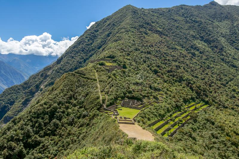 Choquequirao complex of ruins built by the Incas, one of the most remote Inca settlements in the Andes, Peru. Choquequirao archaeological complex site, an Incan stock photography