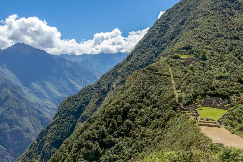 Choquequirao complex of ruins built by the Incas, one of the most remote Inca settlements in the Andes, Peru. Choquequirao archaeological complex site, an Incan royalty free stock photos