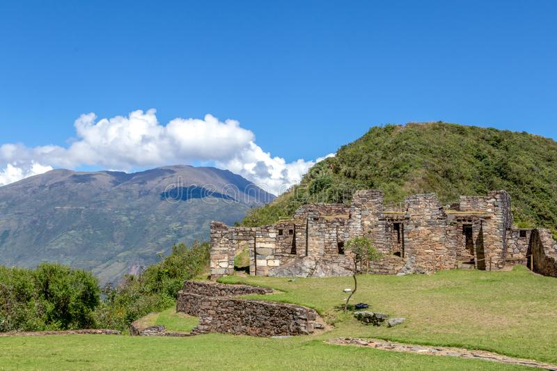 Choquequirao complex of ruins built by the Incas, one of the most remote Inca settlements in the Andes, Peru. Choquequirao archaeological complex site, an stock image