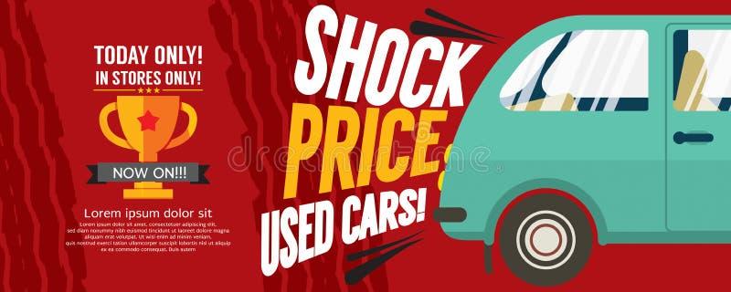 Choquez la bannière de pixel de la vente 6250x2500 de voitures d'occasion des prix illustration libre de droits