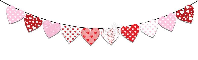 Chorągiewki valentine dekoracja royalty ilustracja