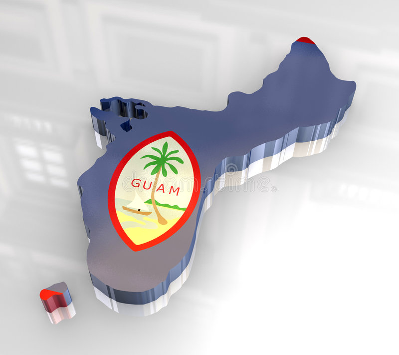 chorągwiana 3d mapa Guam royalty ilustracja