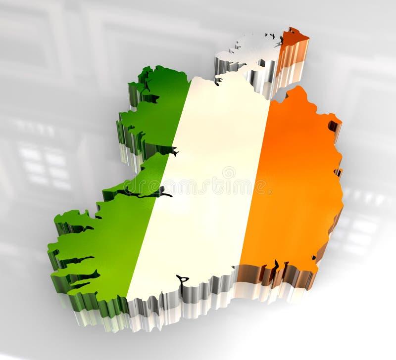 chorągwiana 3d mapa Ireland ilustracji