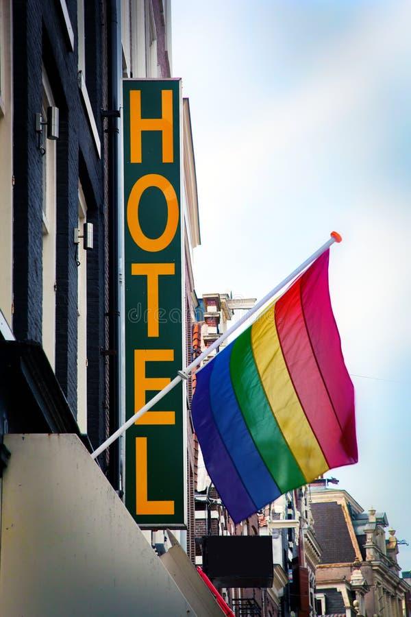 chorągwiana hotelowa tęcza zdjęcia royalty free