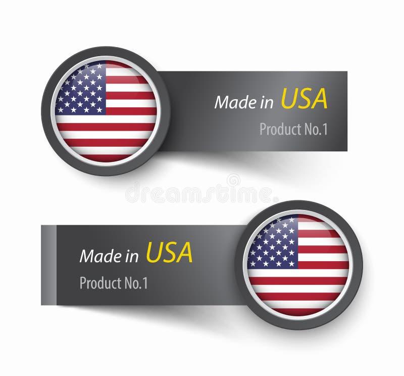 Chorągwiana ikona i etykietka z tekstem robić w Stany Zjednoczone Ameryka royalty ilustracja