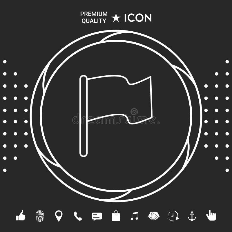 Chorągwiana liniowa ikona Graficzni elementy dla twój designt ilustracji