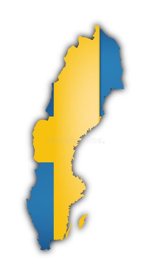 chorągwiana mapa Sweden royalty ilustracja