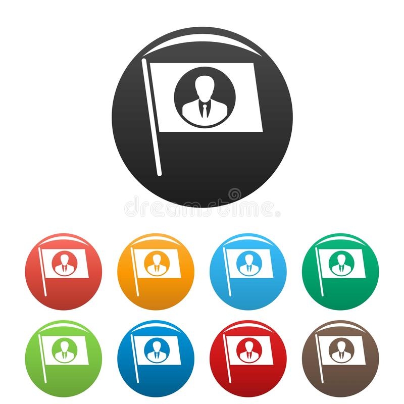Chorągwiane ikony ustawiający głosowanie kandydata kolor ilustracja wektor