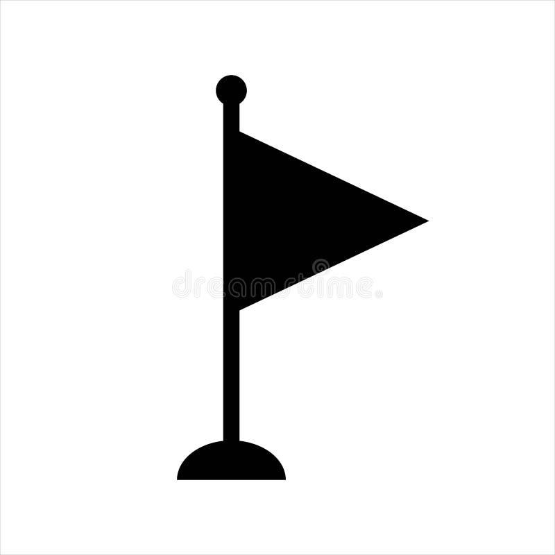 Chorągwianego trójboka mała ikona czerń odizolowywający przedmiot ilustracja wektor