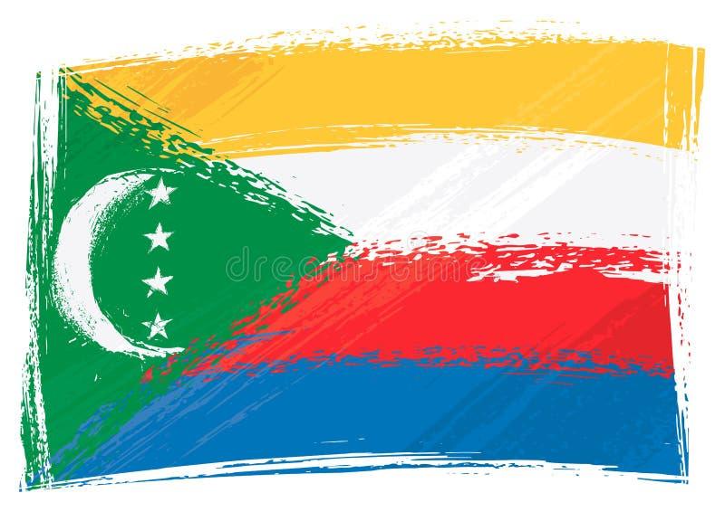 chorągwiany Comoros grunge ilustracji