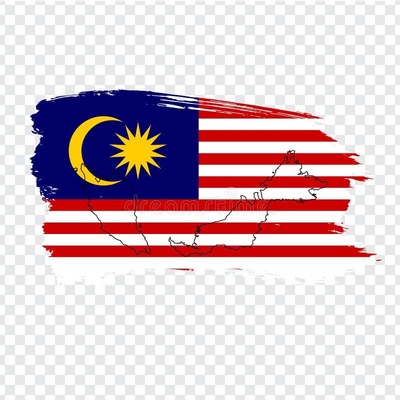Chorągwiany Malezja od muśnięć uderzeń Malezja i Pustej mapy Wysokiej jakości mapa Malezja i flaga na przejrzystym tle ilustracja wektor