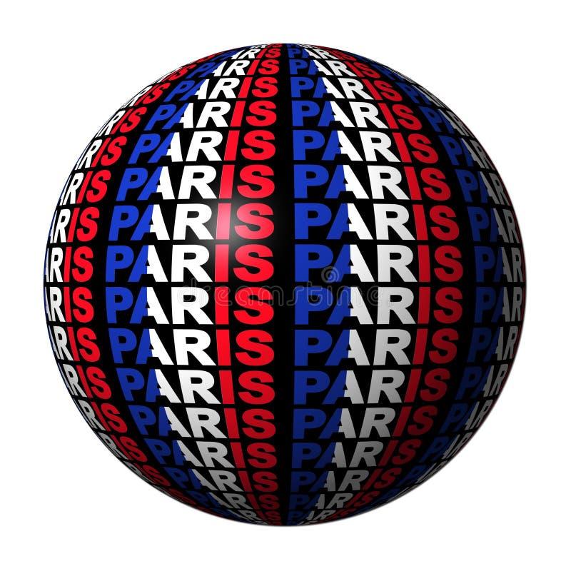 chorągwiany Paris sfery tekst royalty ilustracja
