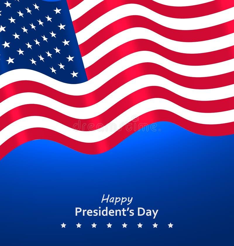Chorągwiany usa falowania wiatr dla Szczęśliwych prezydentów dni ilustracji