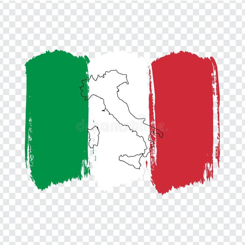 Chorągwiany Włochy od muśnięć uderzeń Włochy i Pustej mapy Wysokiej jakości mapa Włochy i flaga na przejrzystym tle ilustracja wektor