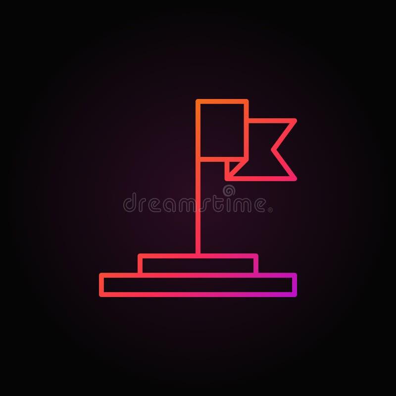 Chorągwiany wektorowy kolorowy ikony lub logo element w konturu stylu ilustracja wektor