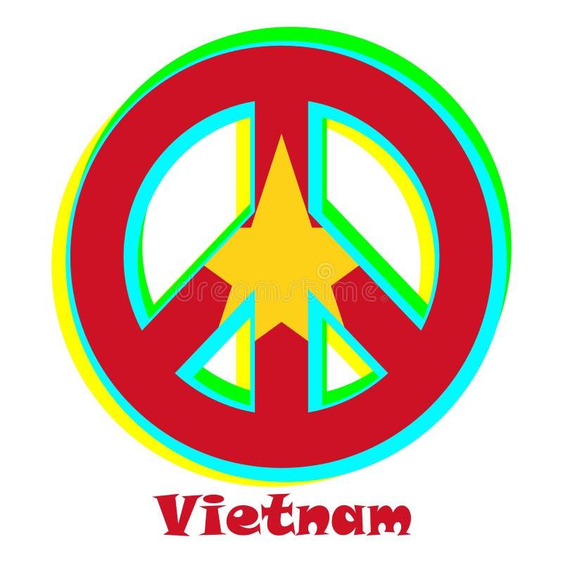 Chorągwiany Wietnam jako znak pacyfizm royalty ilustracja