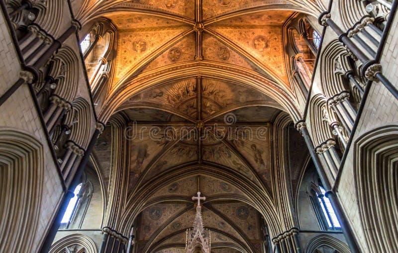 Chor-Decke im mittleren Winkel Worcester-Kathedrale lizenzfreie stockfotos