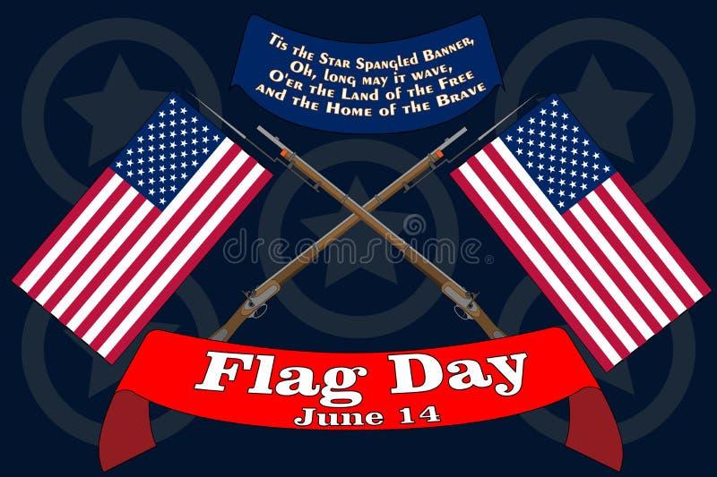 Chor?gwianego dnia sztandar Plakat dla Czerwca 14 urodziny Ameryka?skie gwiazdy i lampasy USA Spangled sztandar na rocznik wojny  ilustracji